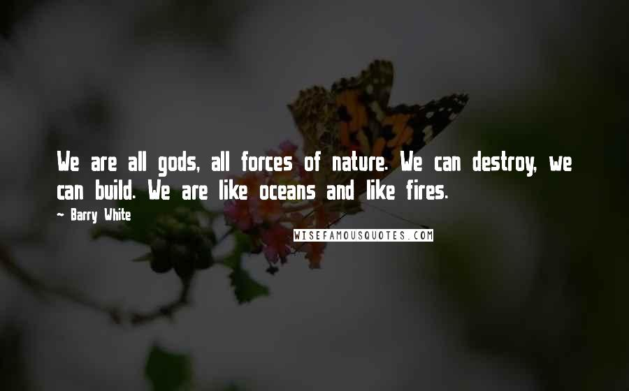 Barry White quotes: We are all gods, all forces of nature. We can destroy, we can build. We are like oceans and like fires.