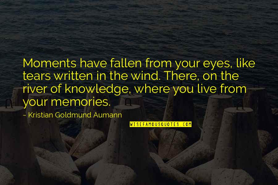 Bartolome Esteban Murillo Quotes By Kristian Goldmund Aumann: Moments have fallen from your eyes, like tears