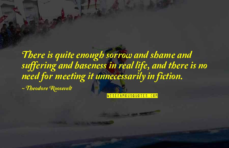 Baseness Quotes By Theodore Roosevelt: There is quite enough sorrow and shame and