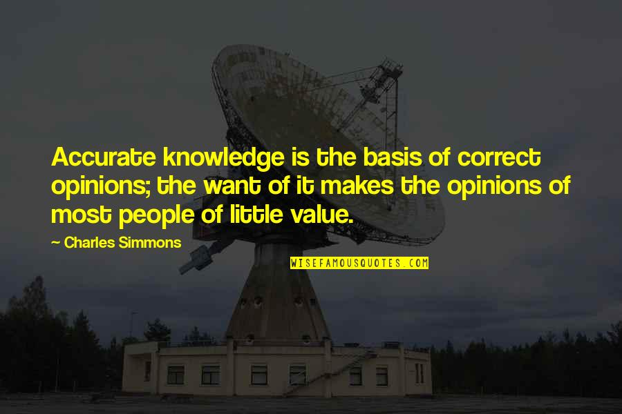 Basis Quotes By Charles Simmons: Accurate knowledge is the basis of correct opinions;
