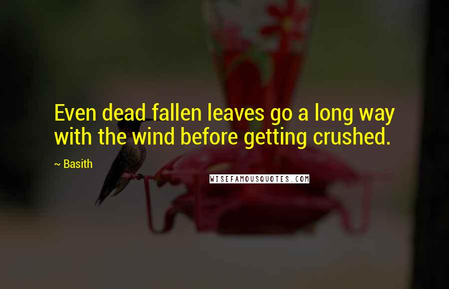 Basith quotes: Even dead fallen leaves go a long way with the wind before getting crushed.