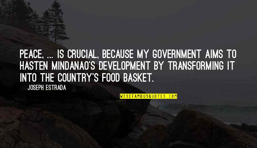 Basket Quotes By Joseph Estrada: Peace, ... is crucial, because my government aims