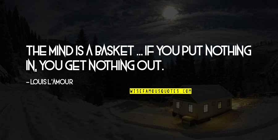 Basket Quotes By Louis L'Amour: The mind is a basket ... if you