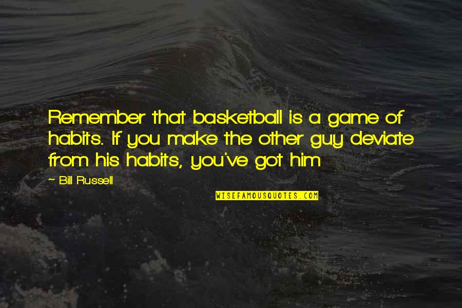 Basketball Game Quotes By Bill Russell: Remember that basketball is a game of habits.