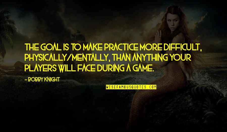 Basketball Game Quotes By Bobby Knight: The goal is to make practice more difficult,