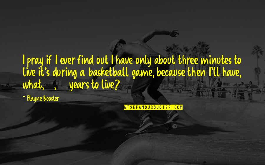 Basketball Game Quotes By Elayne Boosler: I pray if I ever find out I