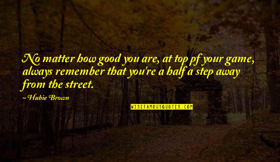 Basketball Game Quotes By Hubie Brown: No matter how good you are, at top