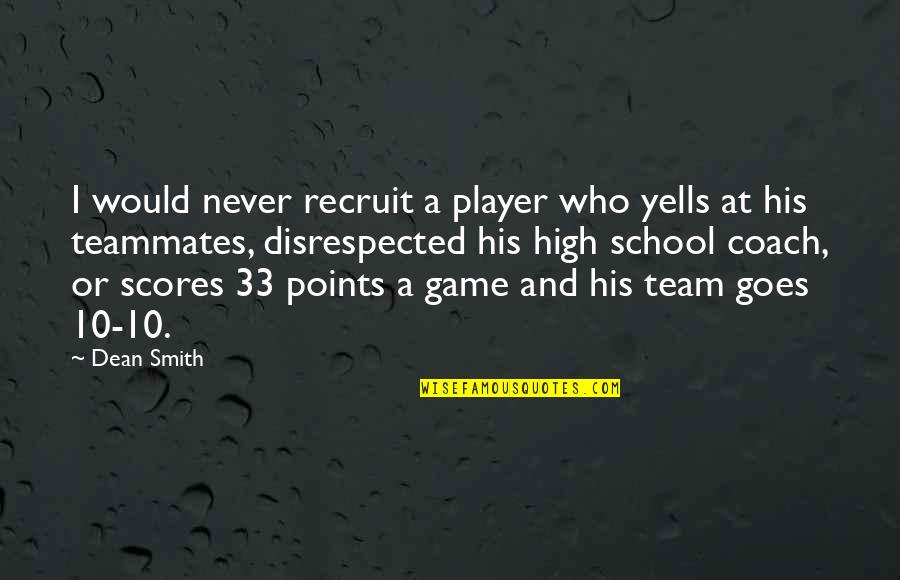 Basketball Points Quotes By Dean Smith: I would never recruit a player who yells