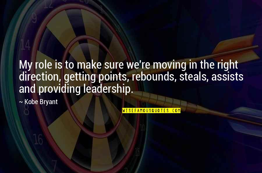 Basketball Points Quotes By Kobe Bryant: My role is to make sure we're moving