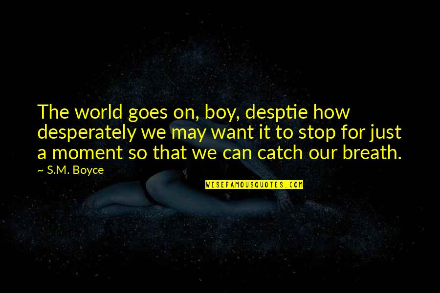 Basketball Referees Quotes By S.M. Boyce: The world goes on, boy, desptie how desperately