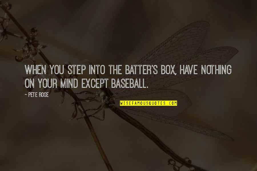 Batter'd Quotes By Pete Rose: When you step into the batter's box, have