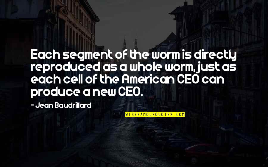 Baudrillard Quotes By Jean Baudrillard: Each segment of the worm is directly reproduced