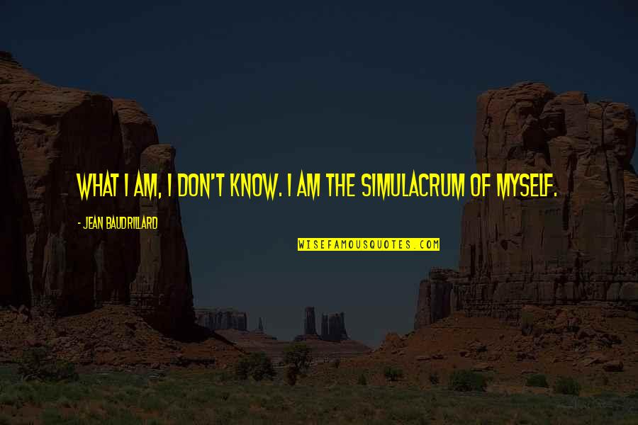 Baudrillard Quotes By Jean Baudrillard: What I am, I don't know. I am
