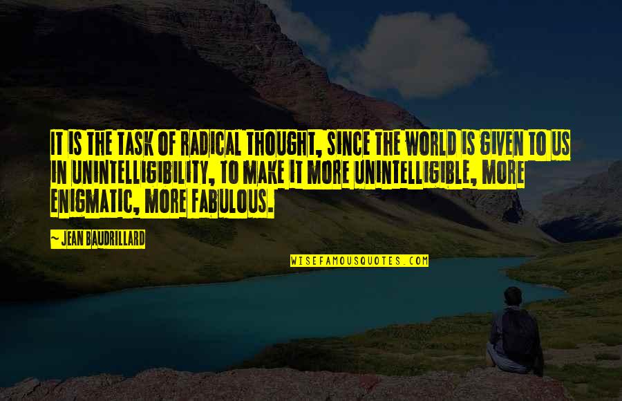 Baudrillard Quotes By Jean Baudrillard: It is the task of radical thought, since