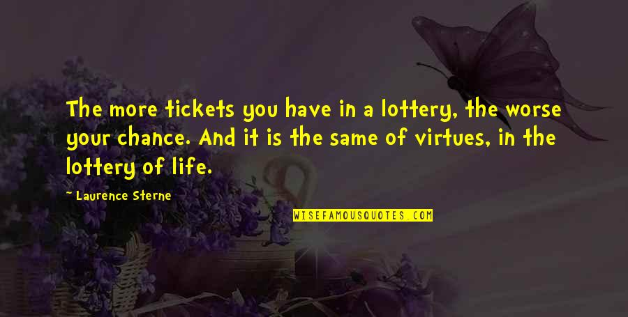 Bazine Quotes By Laurence Sterne: The more tickets you have in a lottery,