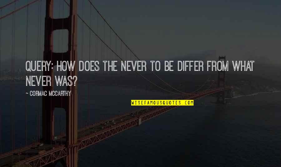 Bcbsil Get Quotes By Cormac McCarthy: Query: How does the never to be differ