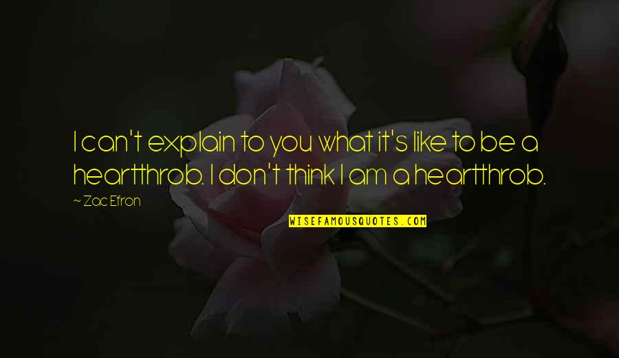 Be Like Quotes By Zac Efron: I can't explain to you what it's like