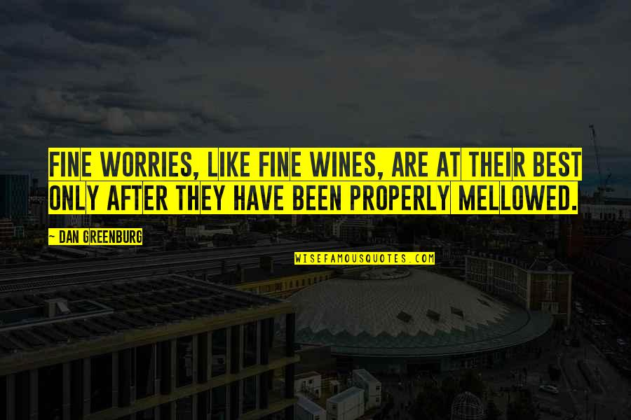 Be Like Wine Quotes By Dan Greenburg: Fine worries, like fine wines, are at their