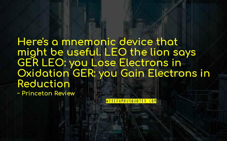 Be Lion Quotes By Princeton Review: Here's a mnemonic device that might be useful.