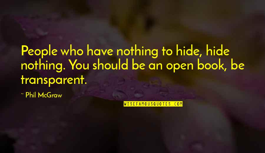 Be Nothing Quotes By Phil McGraw: People who have nothing to hide, hide nothing.