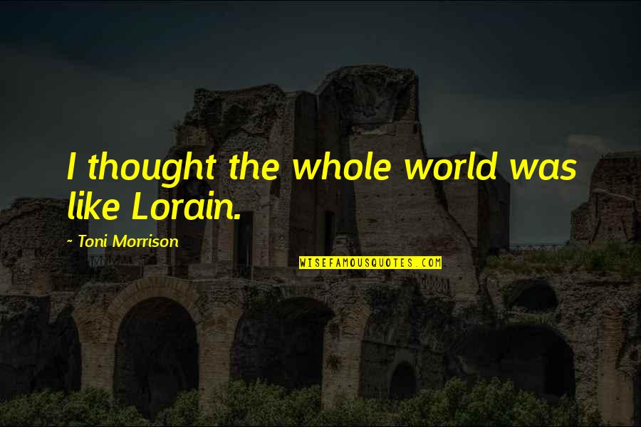 Be Safe Today Quotes By Toni Morrison: I thought the whole world was like Lorain.