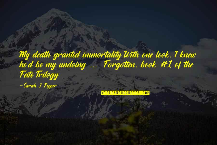 Be With God Quotes By Sarah J. Pepper: My death granted immortality.With one look, I knew
