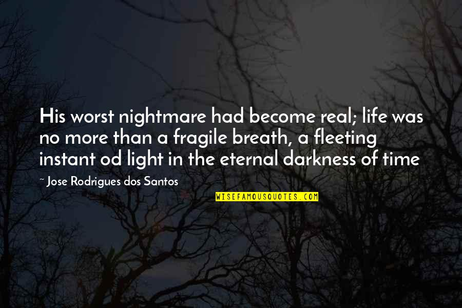 Beach Serenity Quotes By Jose Rodrigues Dos Santos: His worst nightmare had become real; life was