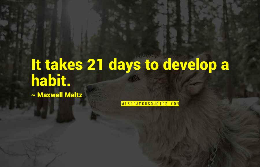Bean Bag Chair Quotes By Maxwell Maltz: It takes 21 days to develop a habit.