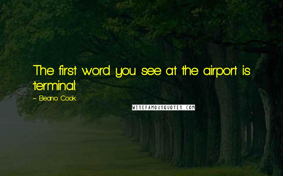 Beano Cook quotes: The first word you see at the airport is 'terminal'.