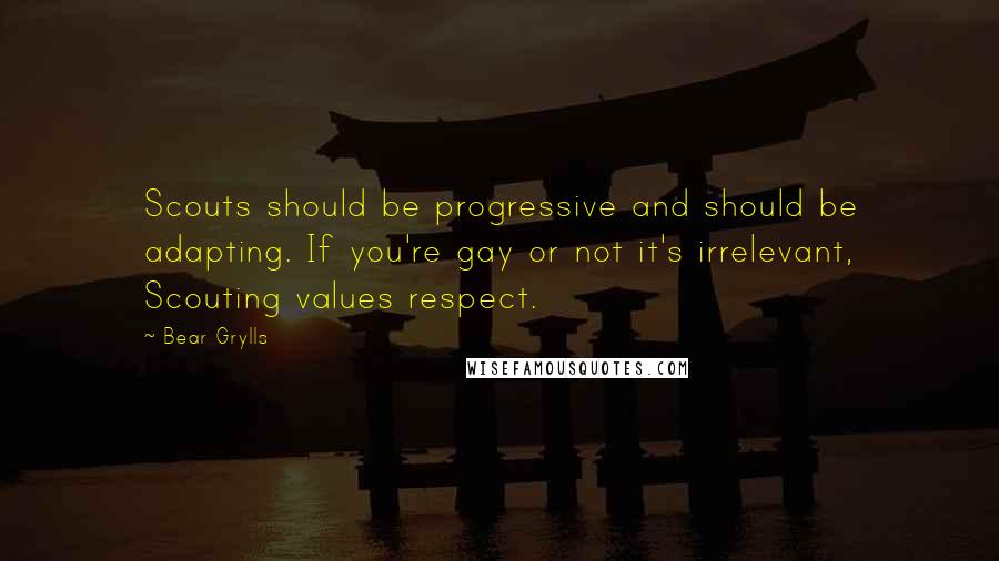Bear Grylls quotes: Scouts should be progressive and should be adapting. If you're gay or not it's irrelevant, Scouting values respect.
