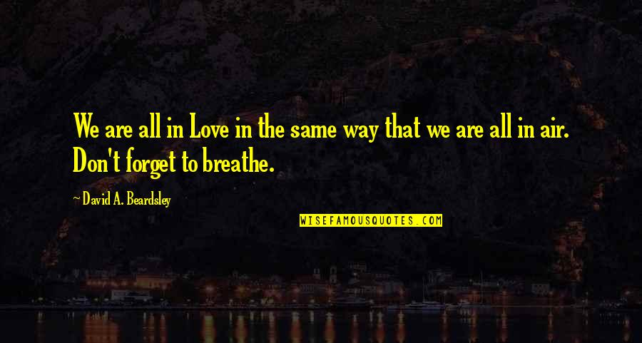 Beardsley Quotes By David A. Beardsley: We are all in Love in the same