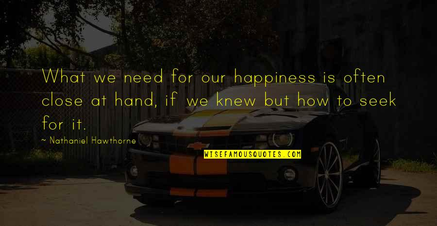 Beatam Quotes By Nathaniel Hawthorne: What we need for our happiness is often