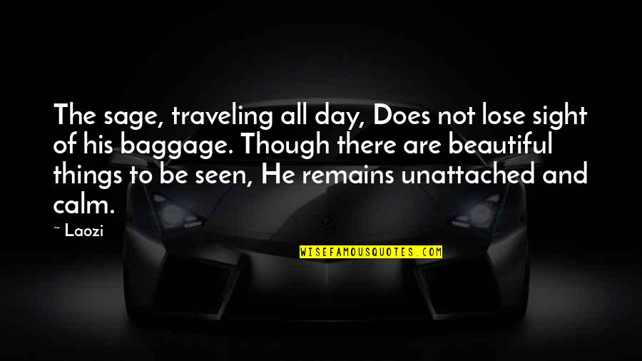 Beautiful Day Quotes By Laozi: The sage, traveling all day, Does not lose