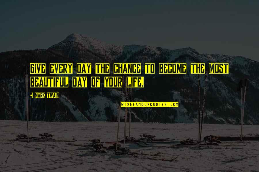 Beautiful Day Quotes By Mark Twain: Give every day the chance to become the