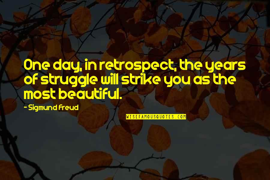 Beautiful Day Quotes By Sigmund Freud: One day, in retrospect, the years of struggle