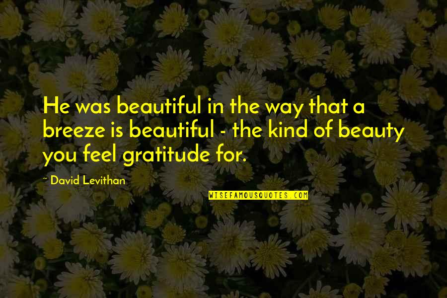 Beautiful For You Quotes By David Levithan: He was beautiful in the way that a