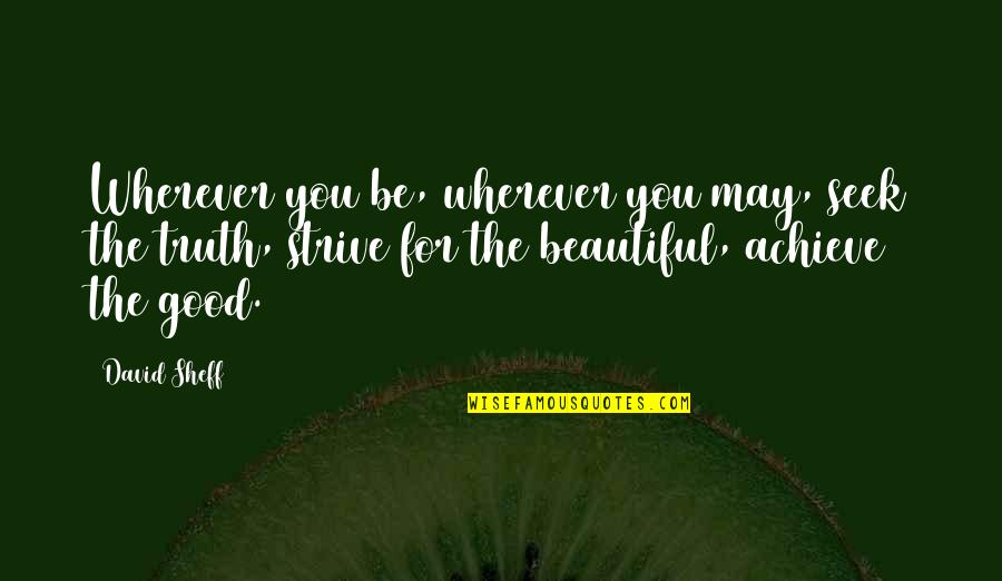 Beautiful For You Quotes By David Sheff: Wherever you be, wherever you may, seek the