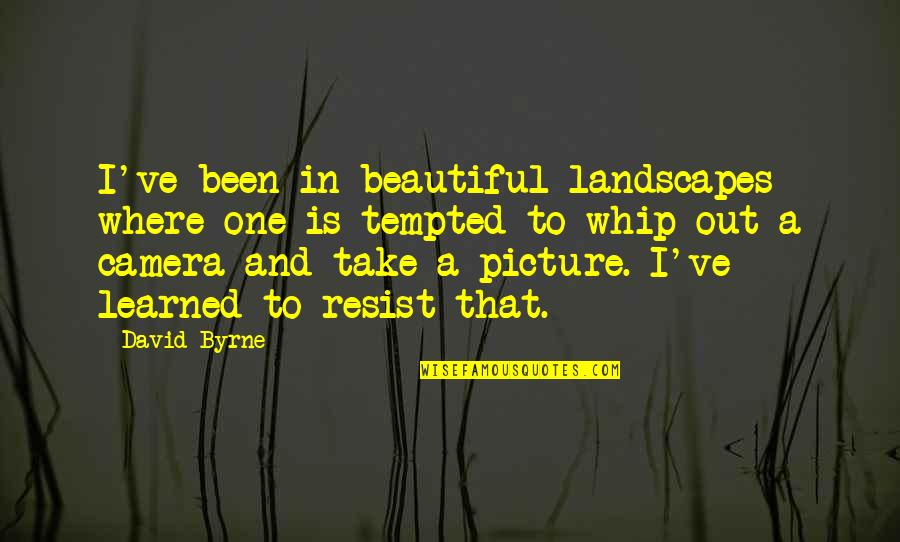 Beautiful Landscapes Quotes By David Byrne: I've been in beautiful landscapes where one is