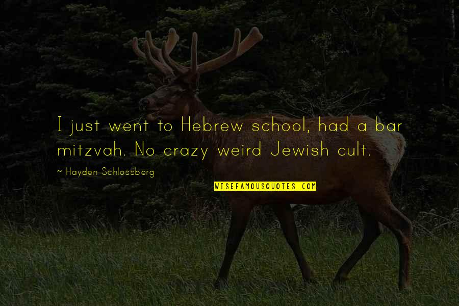 Beautiful Landscapes Quotes By Hayden Schlossberg: I just went to Hebrew school, had a