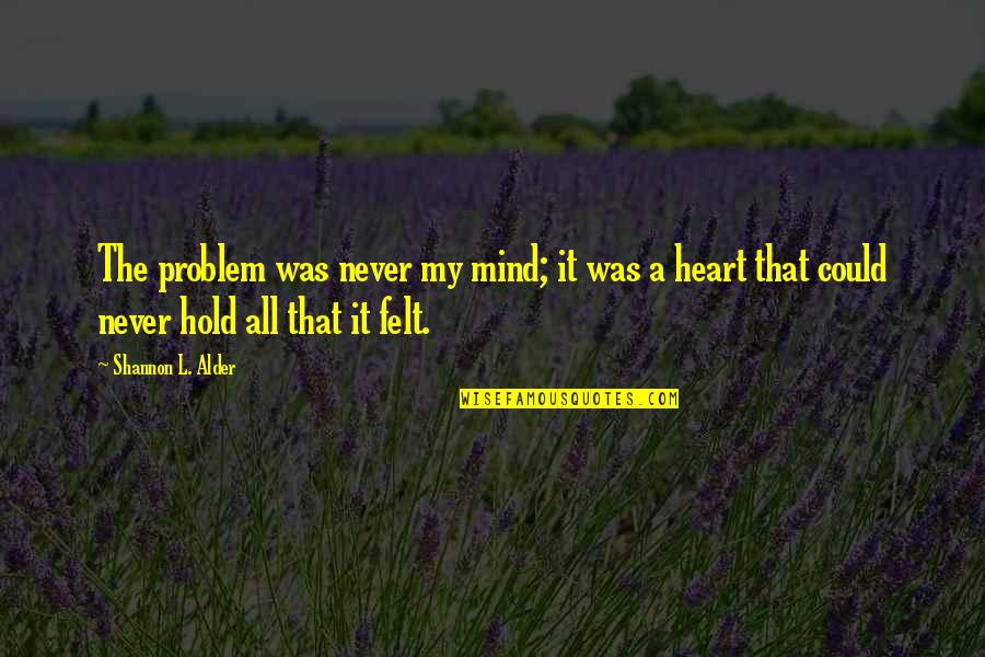 Beautiful Soulful Quotes By Shannon L. Alder: The problem was never my mind; it was