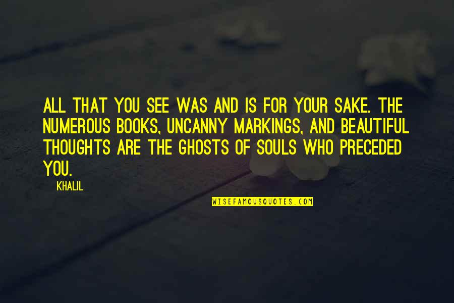 Beautiful Souls Book Quotes By Khalil: All that you see was and is for