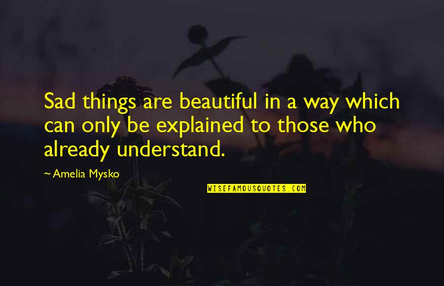 Beautiful Things Quotes By Amelia Mysko: Sad things are beautiful in a way which