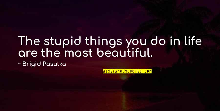Beautiful Things Quotes By Brigid Pasulka: The stupid things you do in life are