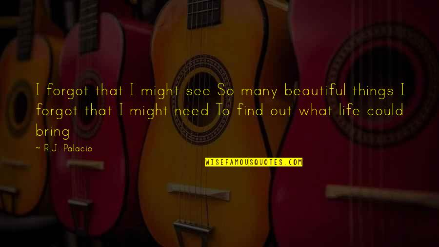 Beautiful Things Quotes By R.J. Palacio: I forgot that I might see So many