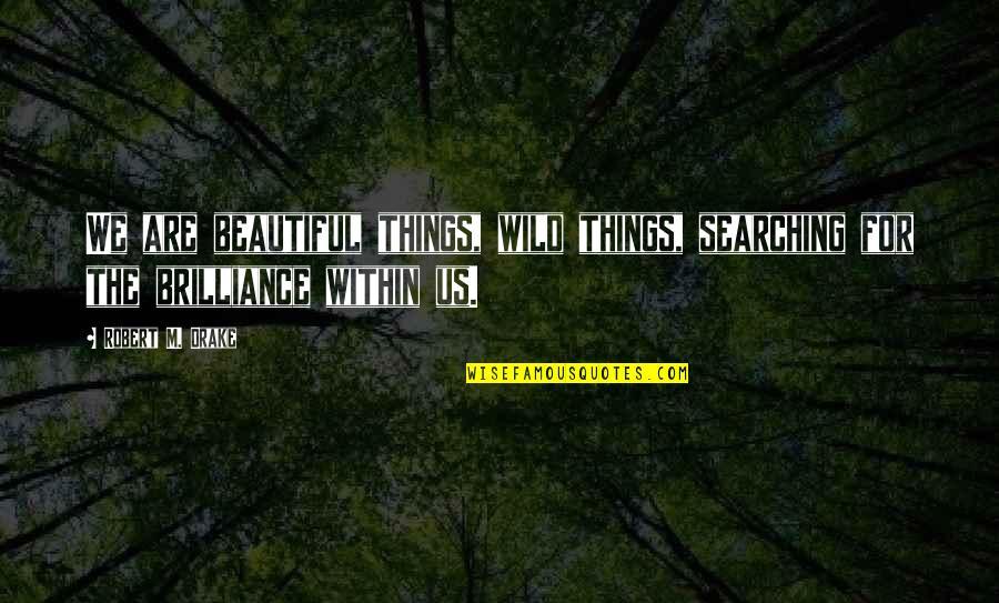 Beautiful Things Quotes By Robert M. Drake: We are beautiful things, wild things, searching for