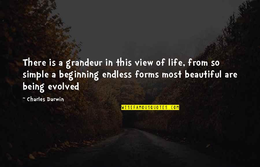 Beautiful View Quotes By Charles Darwin: There is a grandeur in this view of