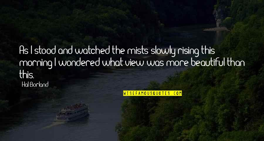Beautiful View Quotes By Hal Borland: As I stood and watched the mists slowly