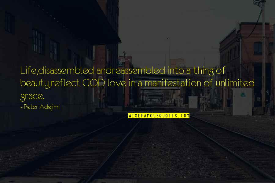 Beauty And Grace Quotes By Peter Adejimi: Life,disassembled andreassembled into a thing of beauty,reflect GOD