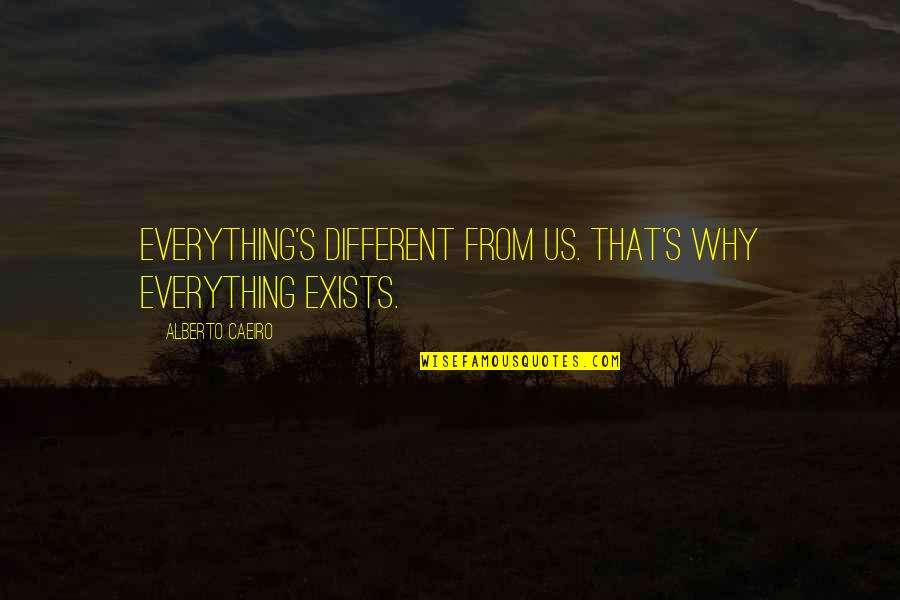 Beauty And Reality Quotes By Alberto Caeiro: Everything's different from us. That's why everything exists.