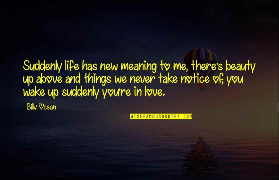 Beauty Love And Life Quotes By Billy Ocean: Suddenly life has new meaning to me, there's